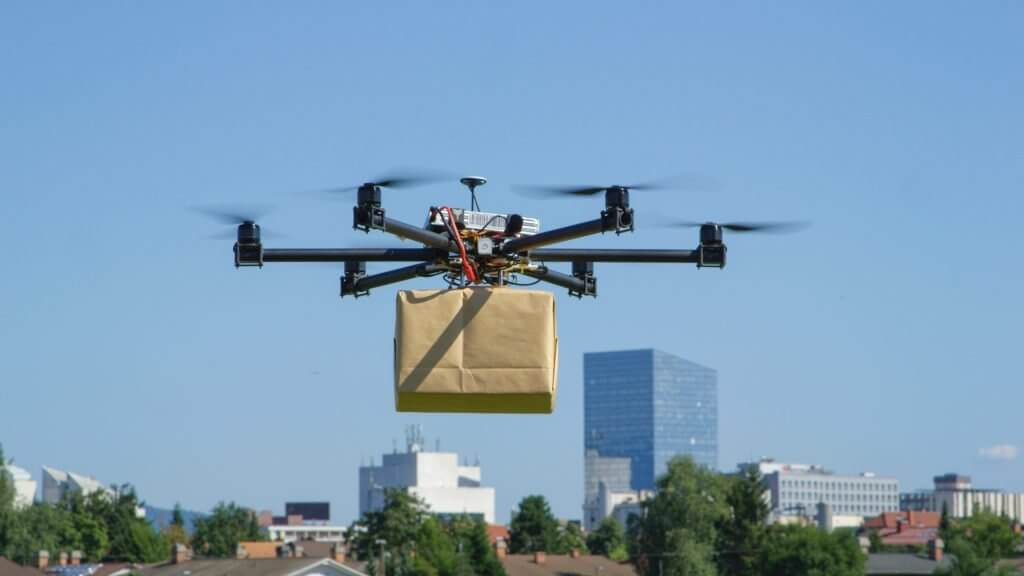 a drone fly with a package