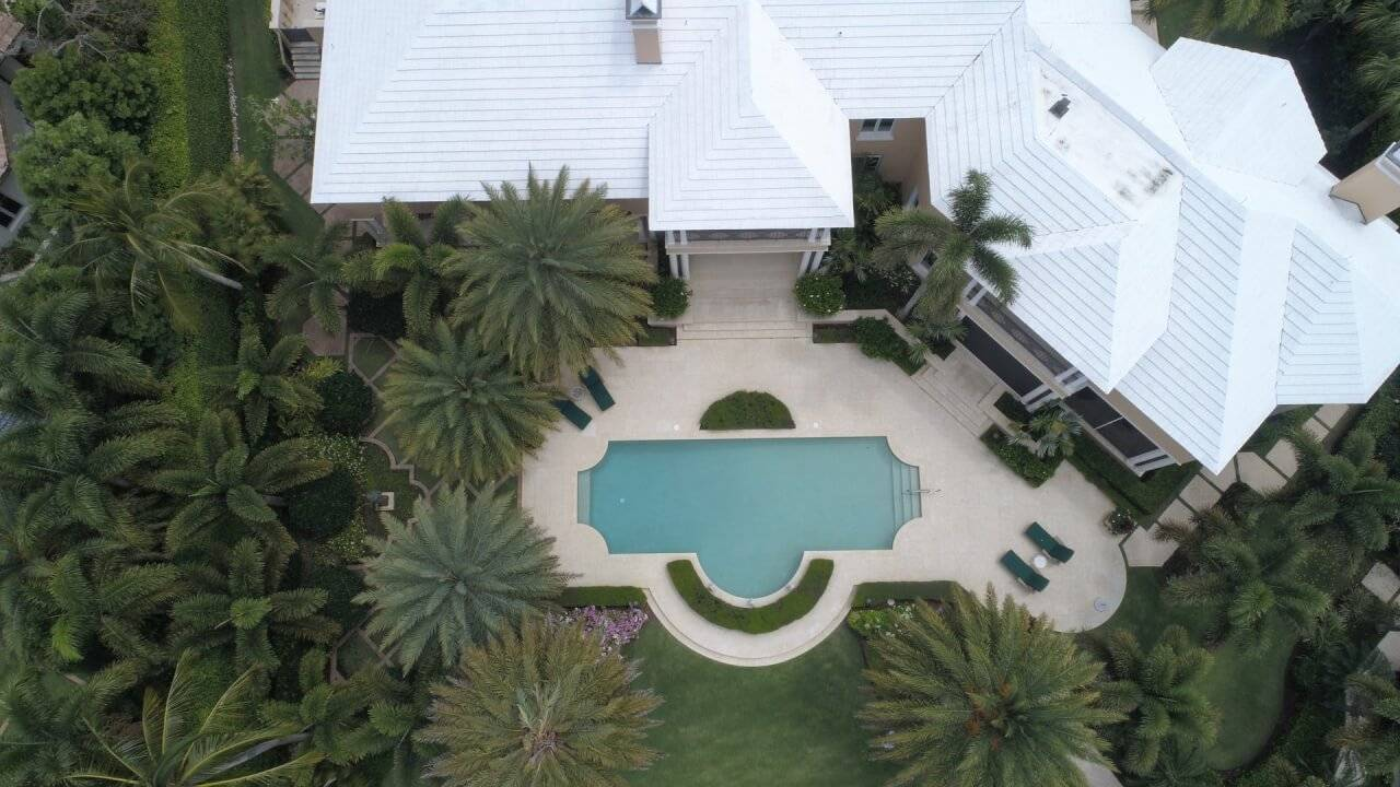 home view from above by dji drone for surveillance
